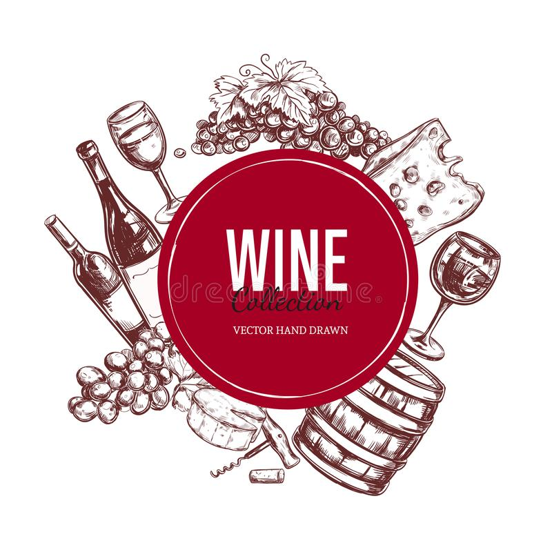 Jogo do vinho Elementos tirados mão 4 do vetor ilustração stock