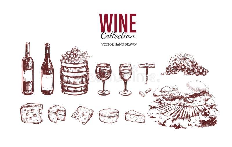 Jogo do vinho Elementos tirados mão 3 do vetor ilustração do vetor