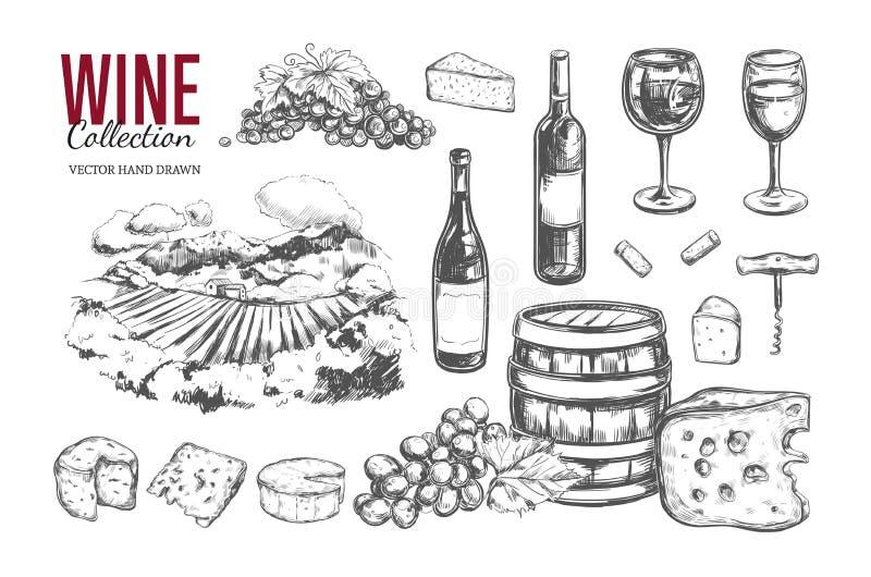 Jogo do vinho Mão do vetor tirada 2 ilustração do vetor
