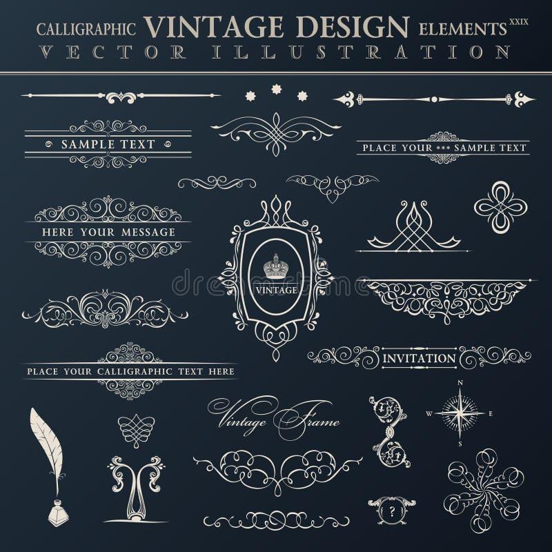 Jogo do vintage do vetor Elementos e PR caligráficos da decoração da página ilustração stock
