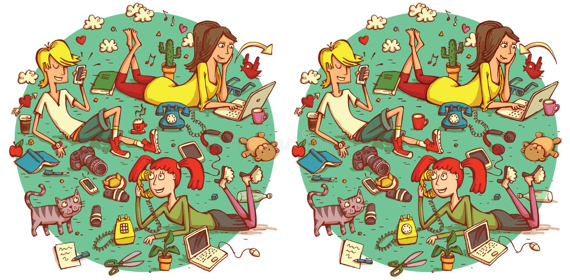 Jogo do Visual das diferenças do achado 20 Solução na camada escondida ilustração royalty free