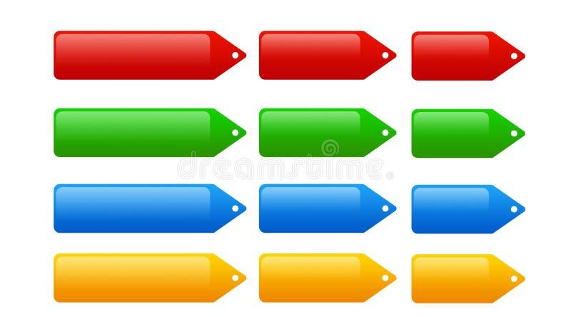 Jogo do Web 12 2.0 Tag, Tag do proce e teclas ilustração stock