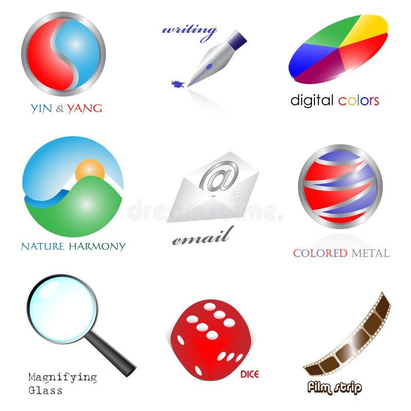 Jogo dos ícones 3d ilustração royalty free
