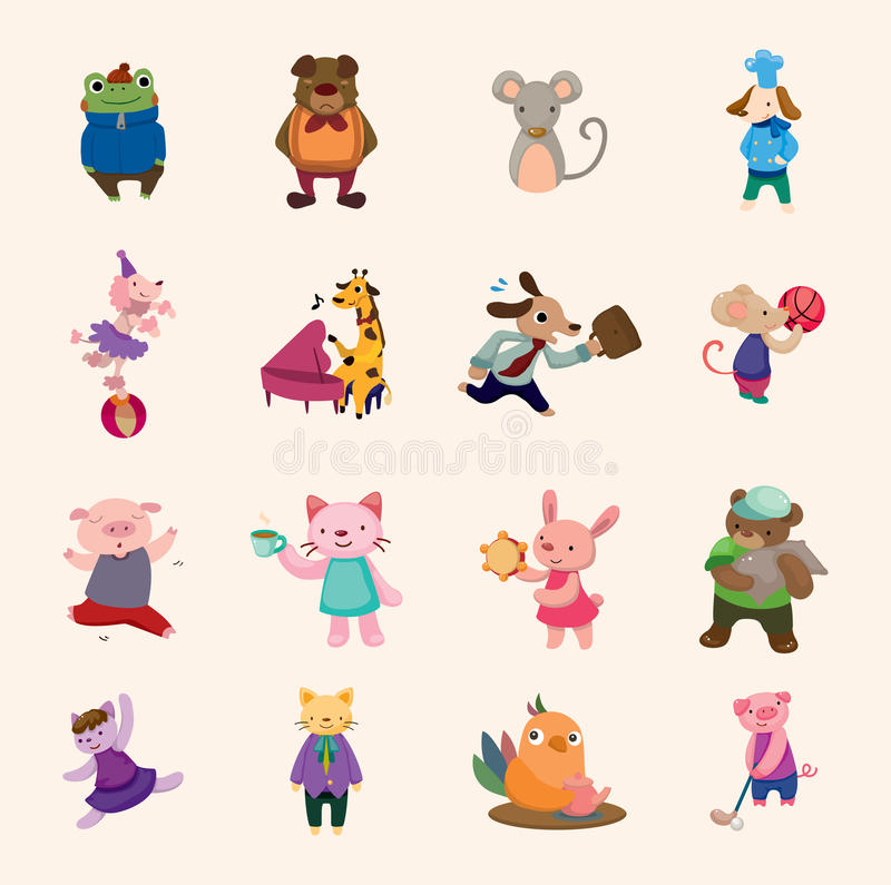 Jogo dos ícones animais ilustração do vetor