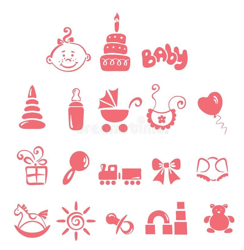 Jogo dos ícones - bebé ilustração stock