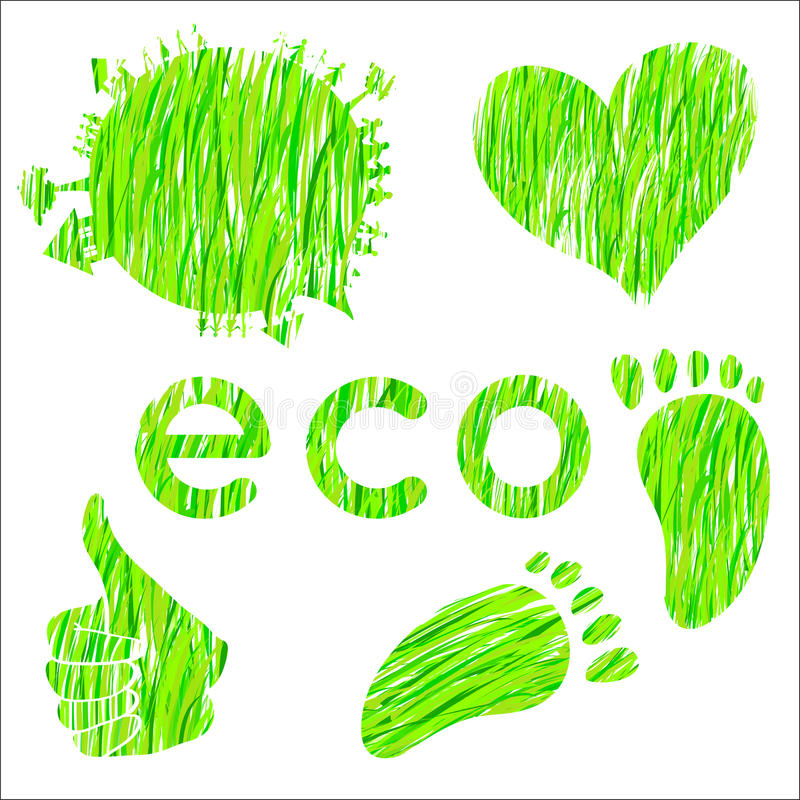 Jogo dos ícones com ambiente da textura da grama verde ilustração royalty free
