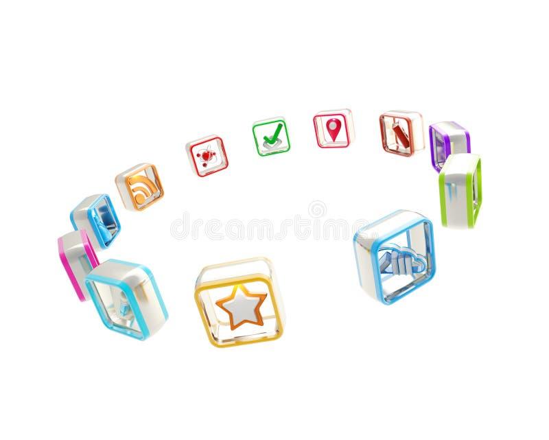 Jogo dos ícones da aplicação informática isolados ilustração royalty free