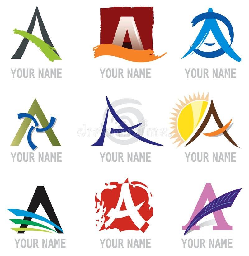 Jogo dos ícones e da letra A. dos elementos do logotipo. ilustração stock