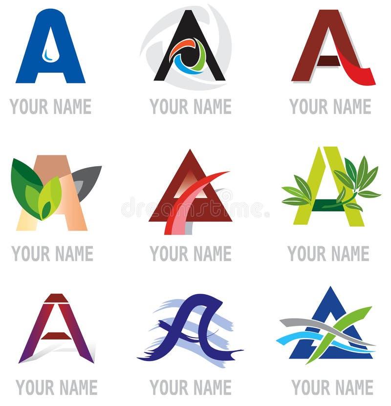 Jogo dos ícones e da letra A. dos elementos do logotipo. ilustração royalty free