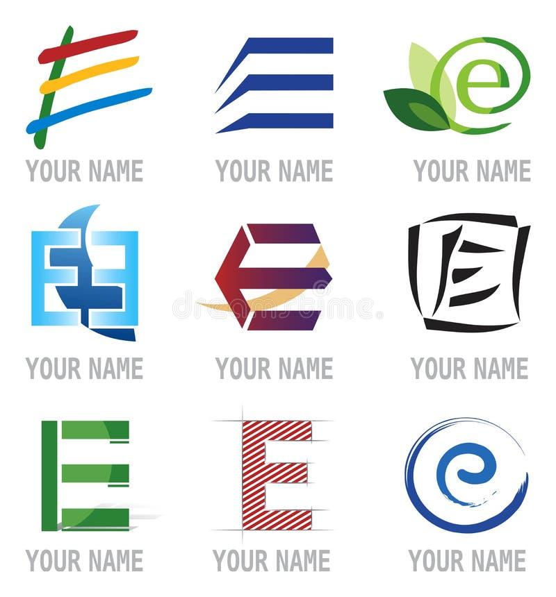 Jogo dos ícones e da letra E dos elementos do logotipo ilustração royalty free