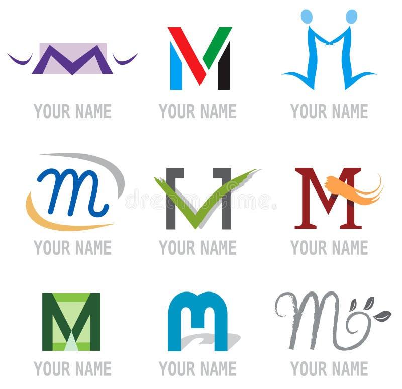 Jogo dos ícones e da letra M dos elementos do logotipo ilustração do vetor