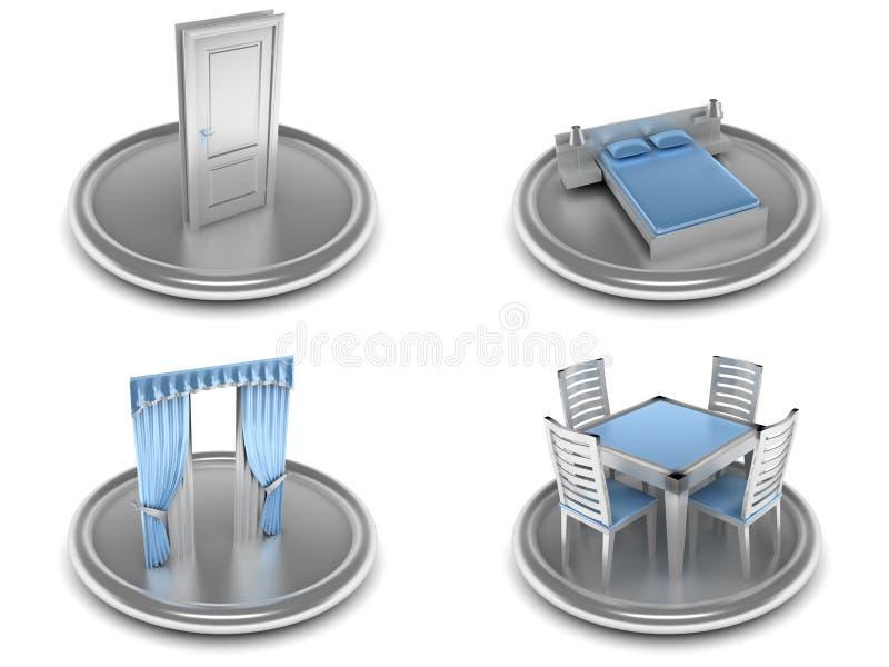 Jogo dos ícones em um tema home ilustração royalty free