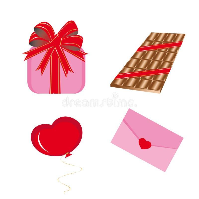 Jogo dos ícones para o dia do Valentim do St. ilustração royalty free
