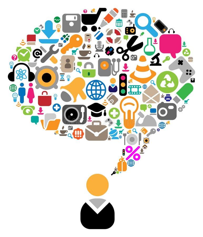 Jogo dos ícones para temas da conversação ilustração royalty free