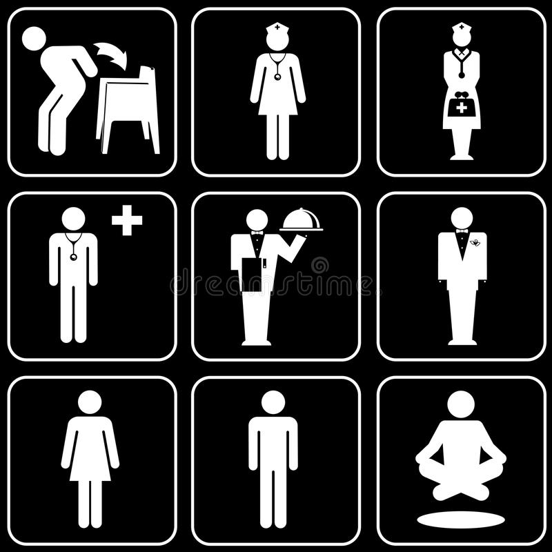 Jogo dos ícones (povos) ilustração royalty free