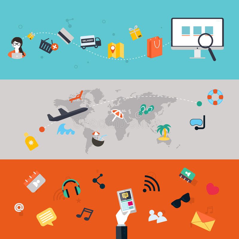 Jogo dos ícones Projeto liso PC dos telefones celulares, da tabuleta, Web e App ilustração royalty free