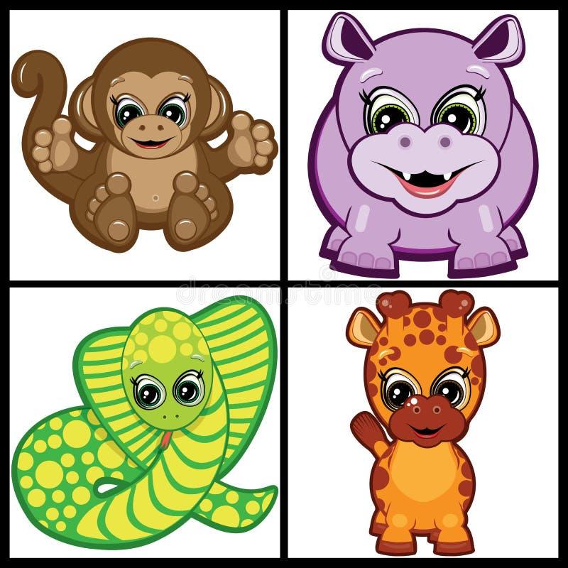Jogo dos animais pequenos tropicais ilustração royalty free