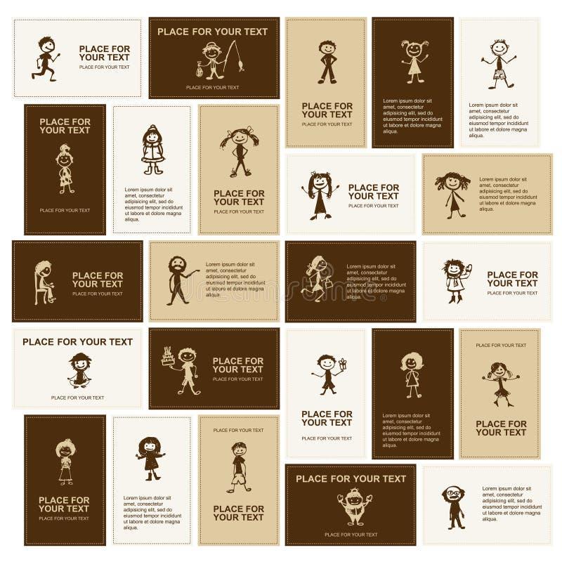 Jogo dos cartões, esboços de ícones dos povos ilustração royalty free
