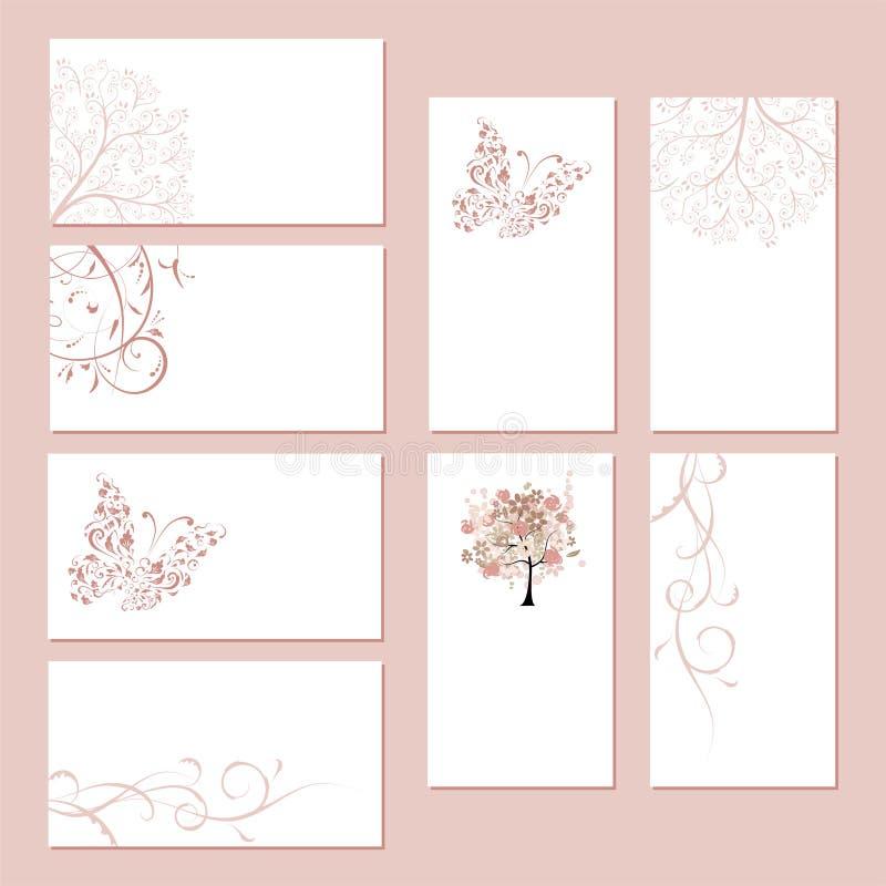 Jogo dos cartões, ornamento floral ilustração do vetor