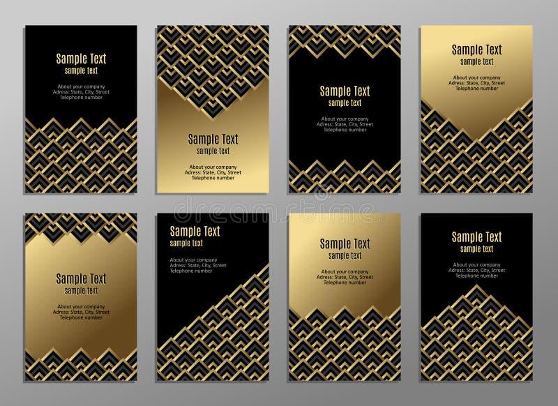 Jogo dos cartões, ouro no preto Placas do negócio invitations Vetor ilustração royalty free