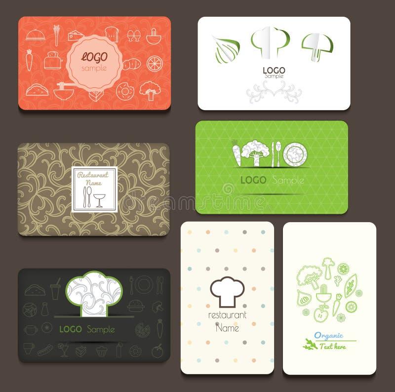 Jogo dos cartões Para o café e o restaurante ilustração do vetor