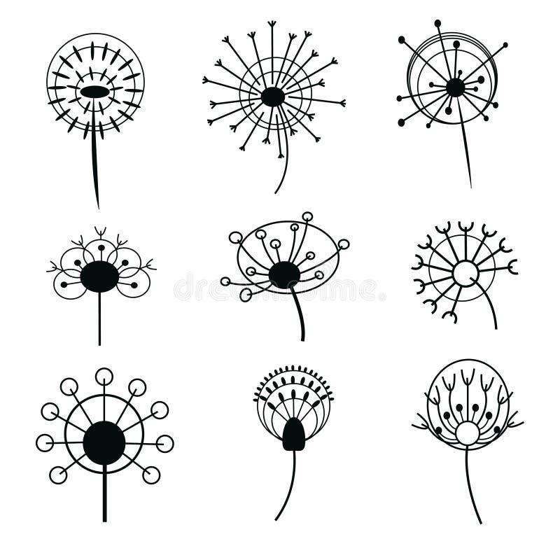 Jogo dos dentes-de-leão Coleção de dentes-de-leão estilizados Flores decorativas Desenho preto e branco Logotipo da flor em botão ilustração do vetor