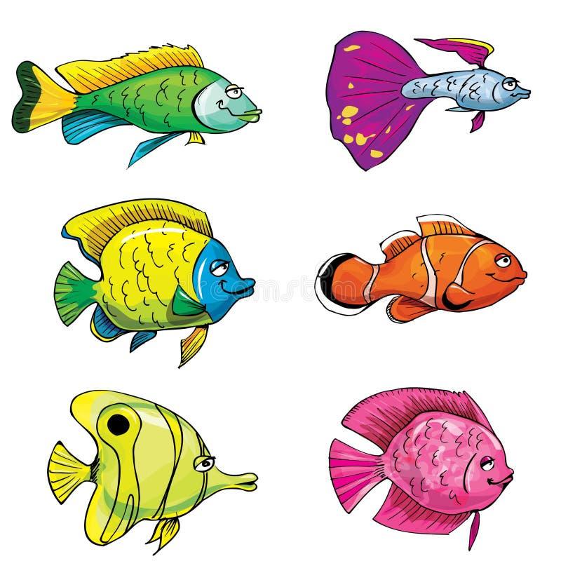 Jogo dos desenhos animados de peixes tropicais ilustração royalty free