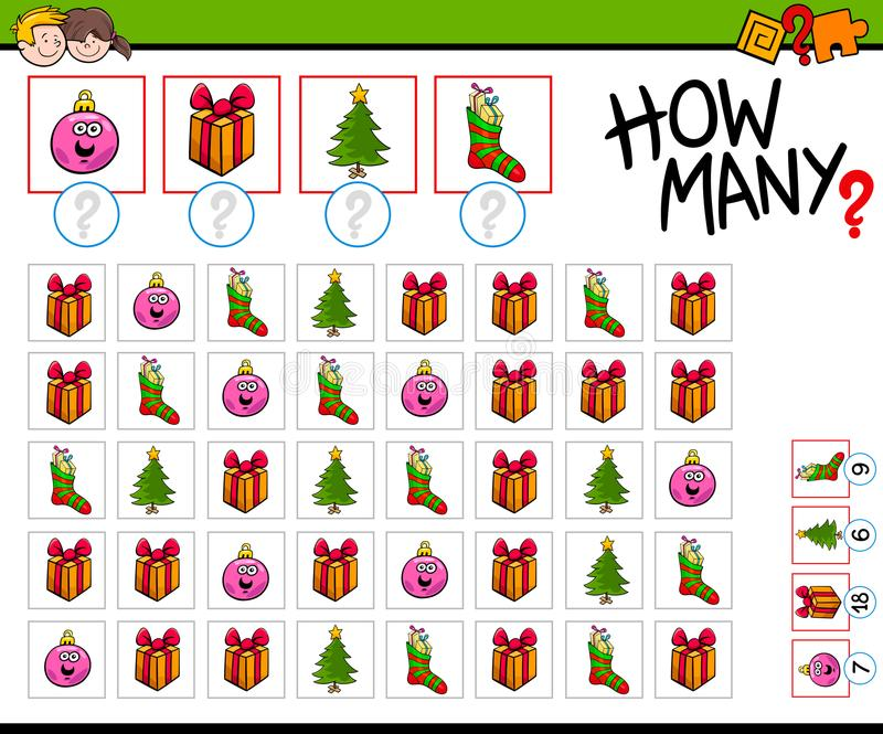 Jogo dos desenhos animados de quantos objetos do Natal ilustração stock