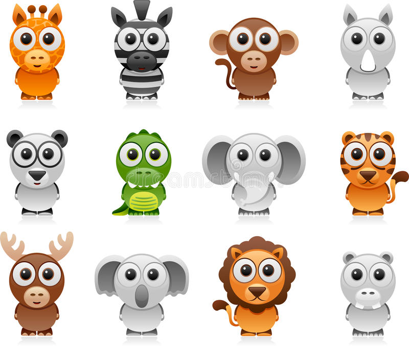 Jogo dos desenhos animados dos animais da selva ilustração stock