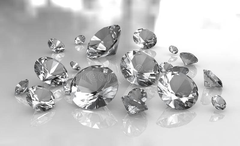 Jogo dos diamantes redondos brancos na superfície lustrosa ilustração royalty free