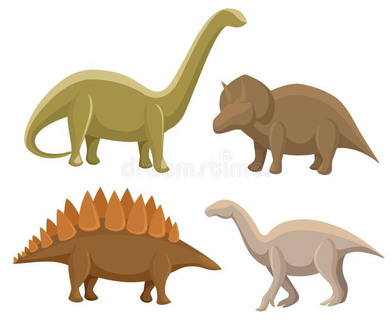 Jogo dos dinossauros Stegosaurus, triceratops, Iguanodon, diplodocus Ilustração do vetor isolada no branco Grupo colorido de fant ilustração stock