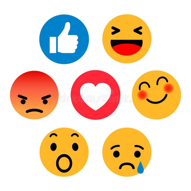 Jogo dos emoticons Ícone social das reações da rede de Emoji Os smilies amarelos, ajustaram a emoção do smiley, por smilies, emot ilustração royalty free