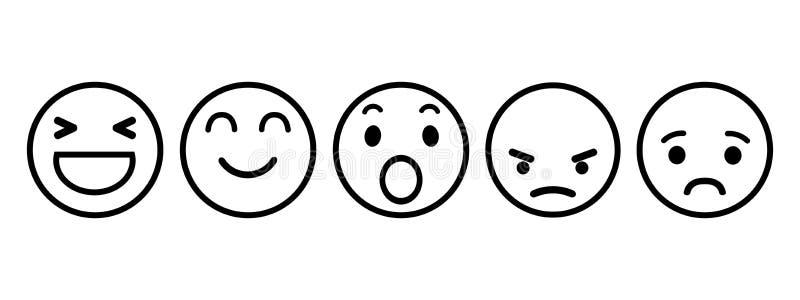 Jogo dos emoticons Ícone social das reações da rede de Emoji Os smilies amarelos, ajustaram a emoção do smiley, por smilies, emot ilustração do vetor