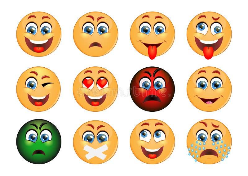 Jogo dos emoticons Grupo de Emoji Ícones do sorriso ilustração stock