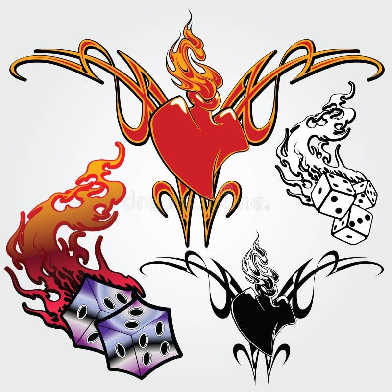 Jogo dos esboços para tatuagens ilustração royalty free