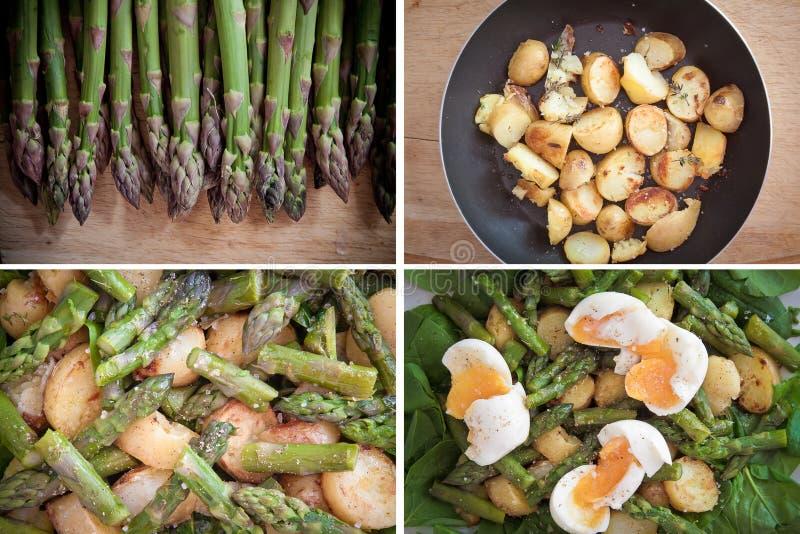 Jogo dos espargos, das batatas, do espinafre e da salada dos ovos imagens de stock