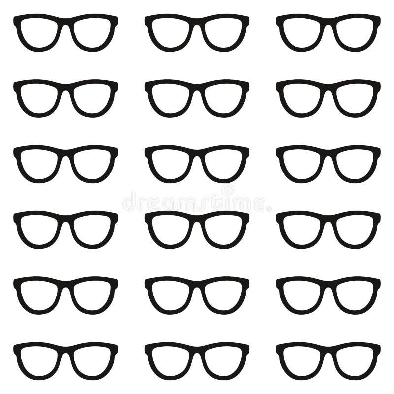 Jogo dos Eyeglasses Teste padrão sem emenda com vidros Vetor ilustração do vetor