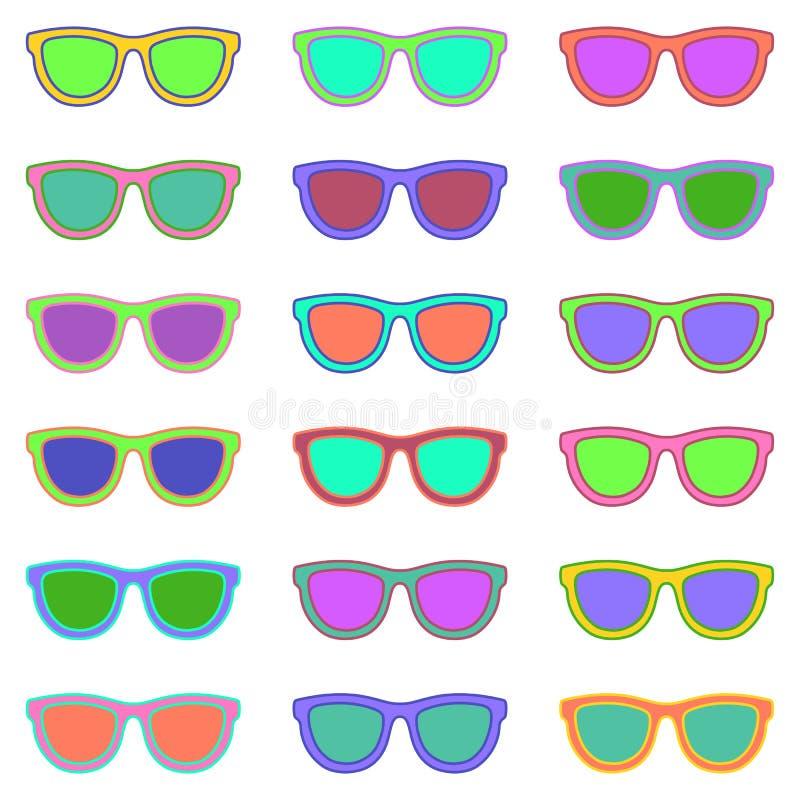 Jogo dos Eyeglasses Teste padrão sem emenda com vidros Vetor ilustração stock