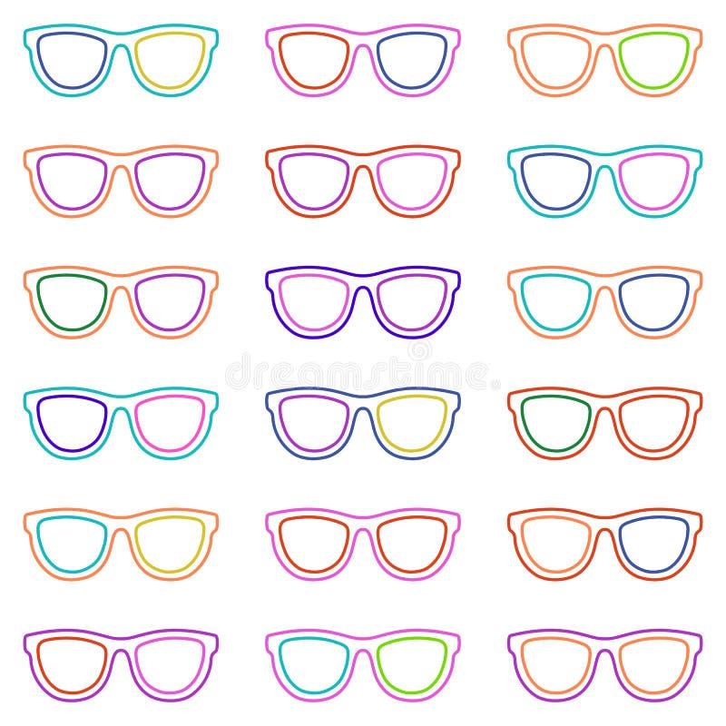 Jogo dos Eyeglasses Teste padrão sem emenda com vidros Vetor ilustração royalty free