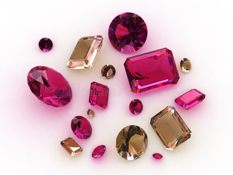 Jogo dos gemstones cor-de-rosa bonitos da safira - 3D ilustração do vetor