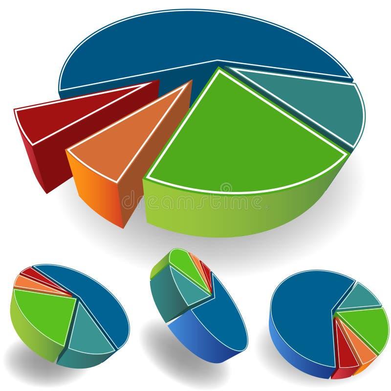 Jogo dos gráfico de sectores circulares ilustração royalty free