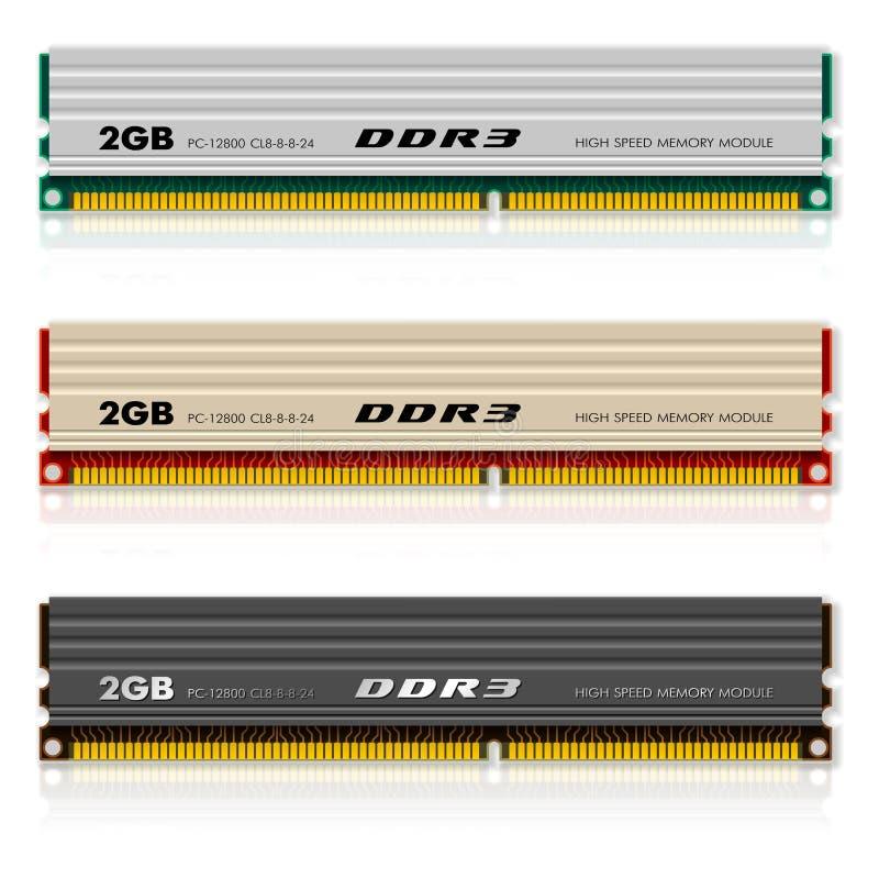 Jogo dos módulos da memória DDR3 ilustração do vetor