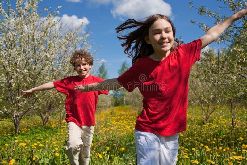 Jogo dos miúdos ao ar livre imagem de stock