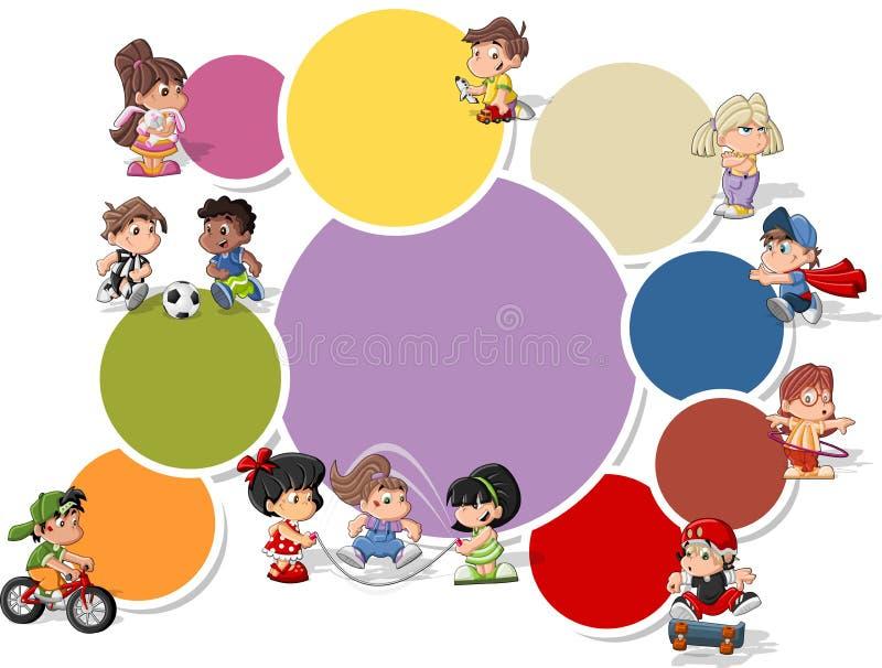 Jogo dos miúdos dos desenhos animados ilustração do vetor