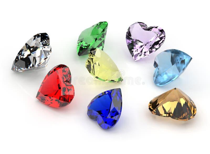 Jogo dos muitos gemstone diferente fotografia de stock