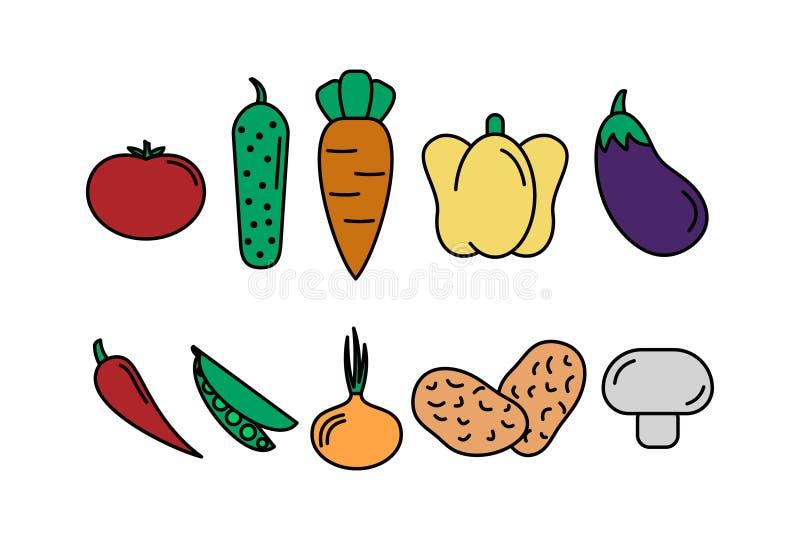 Jogo dos vegetais abstraia o fundo ajuste dos vegetais dos ícones do vetor tomate, pepino, cenoura, pimentas, beringela, ervilha, ilustração do vetor