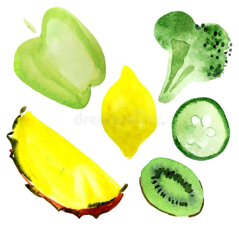 Jogo dos vegetais e da fruta ilustração stock