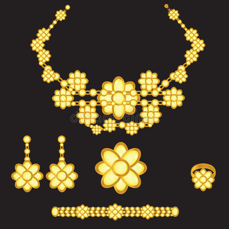 Jogo dourado com pedras amarelas ilustração do vetor