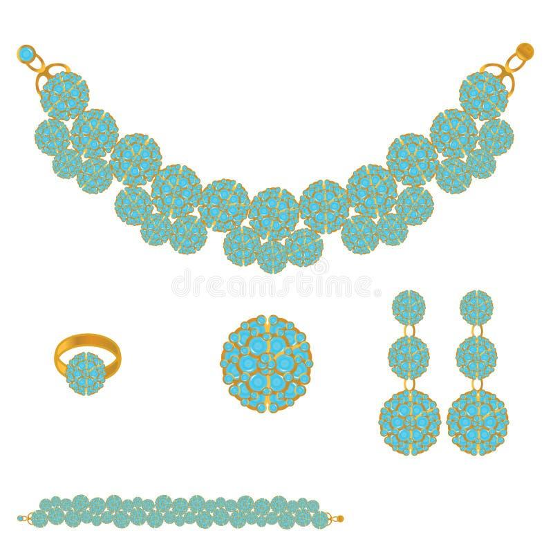 Jogo dourado com pedras azuis ilustração stock
