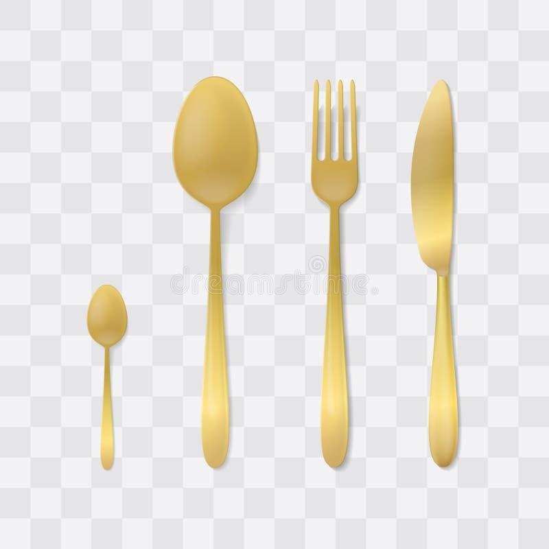 Jogo dourado da cutelaria Forquilha, colher e faca de prata Vetor do faqueiro da vista superior Tabele o ajuste ilustração royalty free